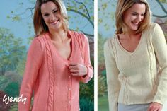 Free Patterns: Wendy V Neck Sweater and Cardigan with Cable