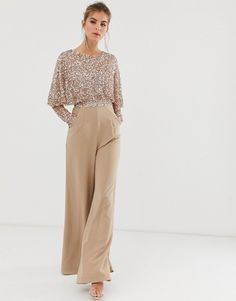 Maya cape detail jumpsuit with tonal delicate sequin top in taupe blush - DonDon ❤️ - guest outfit jumpsuit Hijab Evening Dress, Evening Dresses, Hijab Dress Party, Evening Outfits, Classy Outfits, Chic Outfits, Woman Outfits, Hijab Stile, Sequin Outfit
