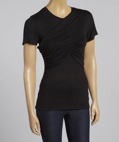 Look at this Black Drape Short-Sleeve Tee on #zulily today!