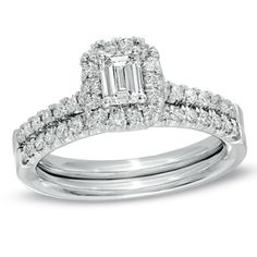 7/8+CT.+T.W.+Emerald-Cut+Diamond+Frame+Bridal+Set+in+14K+White+Gold