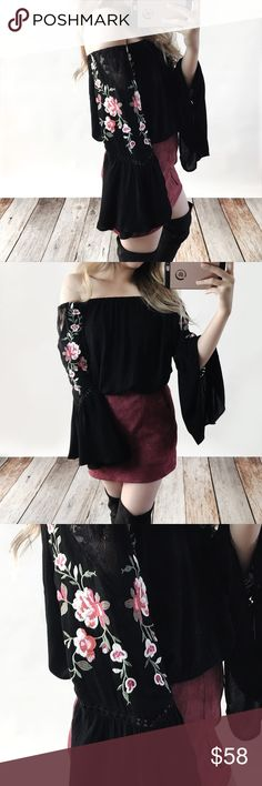 Off Shoulder Embroidered Floral Top Off shoulder top with bell sleeves, embroidered florals and lace accents. Wearing the size small. Cotton and polyester blend. Runs true to size but a loose fit. No trades do not ask. Bare Anthology Tops Blouses