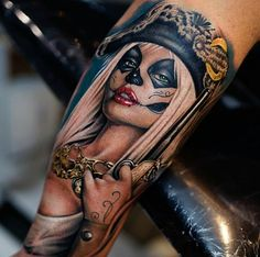 Very pretty realistic colors tattoo of Pirate woman motive by Khan Tattoo Badass Tattoos, Love Tattoos, Sexy Tattoos, Beautiful Tattoos, Body Art Tattoos, Tattoos For Guys, Tattoos For Women, Maori Tattoos, Forearm Tattoos
