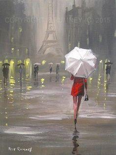 PETE RUMNEY FINE ART MODERN ACRYLIC OIL ORIGINAL PAINTING GIRL IN PARIS CANVAS in Art, Artists (Self-Representing), Paintings   eBay