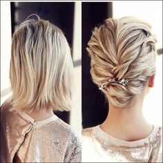 Updo With Low Bun ? Short hairstyles for women have caused a lot of stir in Want to know what they are? You can find all of them in our exclusive photo gallery which includes a layered bob a messy pixie cut cute Dutch braids and many more. Wedding Hairstyles For Medium Hair, Bob Hairstyles For Fine Hair, Medium Bob Hairstyles, Short Wedding Hair, Beautiful Hairstyles, Short Thin Hair, Short Hair Cuts, Medium Hair Styles, Short Hair Styles