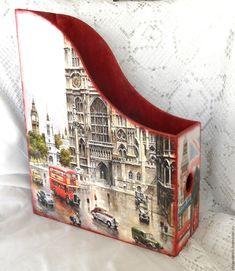Купить Журнальница Старый Лондон - журнальница, журнальница декупаж, декупаж журнальница, журнальница газетница