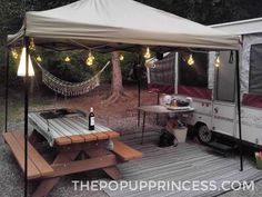 's Pop Up Camper Makeover Pop Up Camper Remodel - I love the inside remodel of this pop up camper, but the outdoor setup is awesome, too.Pop Up Camper Remodel - I love the inside remodel of this pop up camper, but the outdoor setup is awesome, too. Camping Ideas, Camping Hacks, Camping Set Up, Camping Storage, Tent Camping Organization, Camping Gadgets, Camping Stuff, Camping Essentials, Tent Trailer Camping