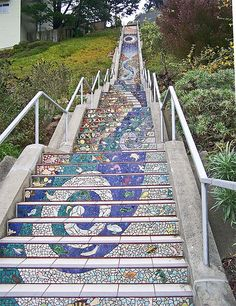 Sunset District Staircase By mosaic artist, Colette Crutcher and ceramicist, Ailene Barr.
