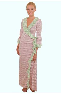 pink and green ruffle robe