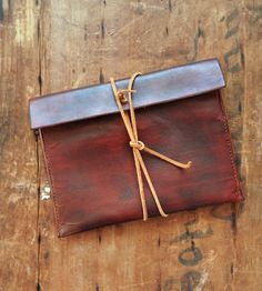 Leather Straight Edge Wrap Clutch Bag
