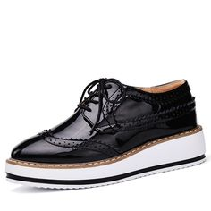 Shoe Platform Oxfords Patent Leather Lace Up Shoes in several colors in sizes to 8.5