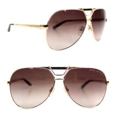 Marc Jacobs Gold Gradient Oversized Aviator Sunglasses New