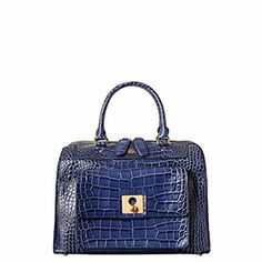 Croc Embossed Leather Peggy Bag Navy