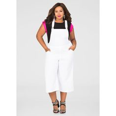 a5920420c368 Ashley Stewart Capri Gaucho Overall Jumpsuit ( 40) ❤ liked on Polyvore  featuring jumpsuits