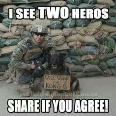 God Bless Our 2 legged and 4 legged Military Military Working Dogs, Military Dogs, Police Dogs, Military Quotes, Military Humor, Animals And Pets, Funny Animals, Cute Animals, War Dogs