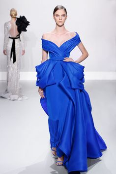 Ralph & Russo - Haute Couture Collection S/S14 - Look 10: Royal blue silk gazar and crepe off-shoulder ballgown with bustle