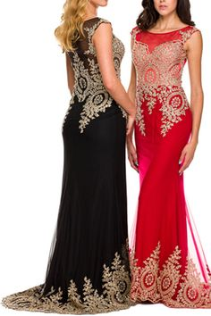 Cap Sleeve Gold Accent Long Prom Dress