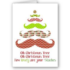 Mustache Christmas Tree - Holiday Card / Christmas Card Idea