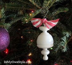 What a cool hand-made ornament.  Out of a re-purposed curtain rod finial!  Almost unbelieveable!