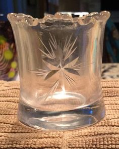 EAPG Bethlehem Star Sawtooth Scalloped Rim Clear Glass Toothpick Holder #Unknown #EAPG