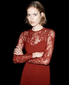 Low-cut dress with lace sleeves - The Kooples