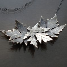 Silver Maple Leaf Trio Necklace #jewelry #necklace
