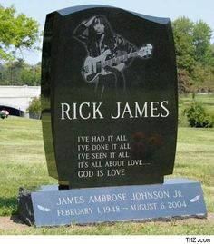 Gravestone of Rick James. Forest Lawn Cemetary Buffalo, New York Cemetery Monuments, Cemetery Headstones, Old Cemeteries, Cemetery Art, Graveyards, Cemetery Statues, Unusual Headstones, Famous Tombstones, Sculptures