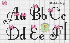 Bordados da Zi                                                                                                                                                                                 Mais Cross Stitch Letters, Cross Stitch Baby, Cross Stitch Kits, Cross Stitch Charts, Cross Stitch Designs, Embroidery Fonts, Embroidery Patterns, Stitch Patterns, Cross Stitching