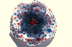 Red white and blue patriotic star bow circle bow by mylittlebows,