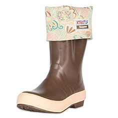 """XTRATUF Legacy Series 15"""" Floral Print-Lined Neoprene Women's Fishing Boots, Copper & Tan (22812G)"""