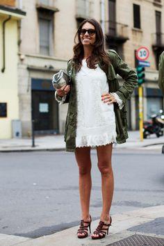 military jacket + little white dress