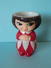 Old Vintage Egg Cup - Lady  / Girl In Red