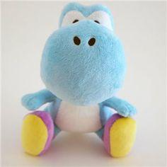 Peluche sous licence officielle NINTENDO 16 cm Yoshi, l'ami fidèle de Mario est trop mignon en version bleue ! Je craque !!!