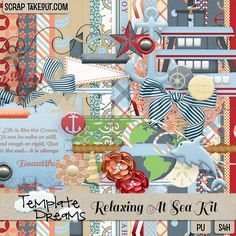 Digital Scrapbooking Kit :: Relaxing At Sea Kit  Great for water, cruise, ocean, and beach themed layouts