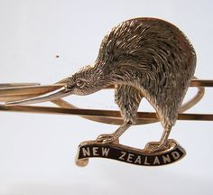 Vintage Men's Tie Clip Kiwi Bird New Zealand by GretelsTreasures