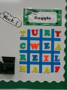 Magnetic Letter Boggle~  Once it's up all you have to do is switch letters once a week.  Easy and fun!