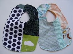 "I've been saving the smallest fabric scraps and trying to use them frugally.   Use any baby bib you like as a template. Cut out one ""backer""..."
