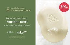 Compre sabonete em barra Mamãe e Bebê, cx com duas unidades de 100g cada, com 30% de desconto: de R$ 18,40 por R$ 12,80. Promoção válida até 04/09, ou enquanto durarem os estoques.