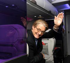 Portlandia Mayor Kyle MacLachlan waves back to guests onboard the inaugural SFO-PDX flight.