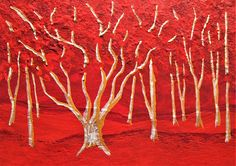 Twilight Woods (ARTIST TRADING CARDS) x by Mike Kraus - aceo red orange silver mother's day trees forest woods nature fun Chicago Architecture Foundation, Fine Arts Degree, Unique Paintings, Tree Forest, Buy Art Online, Art Institute Of Chicago, Artist Trading Cards, Large Painting, Art Auction