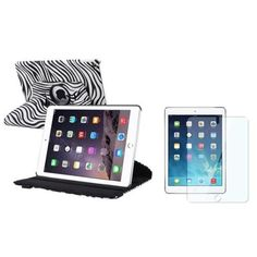 I'm learning all about Insten iPad Air 2 Case, by INSTEN Whtie/Black Zebra Rotating Stand Leather Pouch   Clear Protector for Apple iPad Air 2nd Gen at @Influenster!