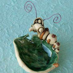 Ceramic Caterpillar Dish Sculpture.