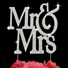 Mr & Mrs Monogram Silhouette Rhinestone Crystal Wedding Cake Toppers Baking Supplies