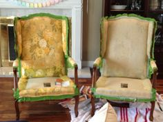 Just trying something new...I bought these lovely chairs on craigslist, and then painted the upholstery! The texture definitely changes...k...