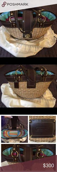 """Coach Straw Bag Coach Straw Bag with brown leather handles, gold clasp and brightly colored lining. This bag has only been used once and is in excellent condition. Please see my other listing for the matching wristlet. The height of the bag is 9"""", width 16"""" and depth is 5"""", the strap length is 16"""". Coach Bags Totes"""