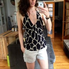 "J.Crew Nautical Rope Detail Halter Top Sweater So cute and nautical! Rope halter tie. Rope print on cotton sweater halter. Perfect for summer. Worn only a few times. 24 1/2"" body length from strap join to sweep, 29"" chest, 39"" bottom opening.  No trades, no PayPal. 10% of bundles. J. Crew Tops Tank Tops"