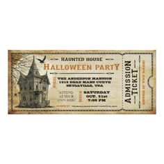 Vintage Haunted House Halloween Party Ticket Invitation Card -- Up to 50% Off Cards & more.. Ends Tomorrow (09.03.2015)! Use Code: ZAZZLEBABIES
