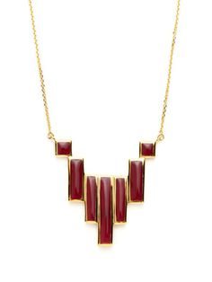 Nico London Multi-Size Rectangular Burgundy Pendant Necklace