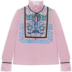 Temperley London Imperium embroidered silk-organza turtleneck blouse (€340) ❤ liked on Polyvore featuring tops, blouses, collar blouse, embroidered top, keyhole blouse, embroidered blouse and pink floral blouse