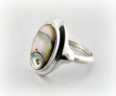 Vintage Abalone Shell Ring, Designer AVON Ring, Silver Shell Ring, 1970s Retro Modern Costume Jewelry by RedGarnetVintage, $15.00
