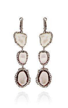 One Of A Kind Triple White Geode And Graduated To Irregular Diamond Lever Back Earrings by Kimberly McDonald - Moda Operandi 22350